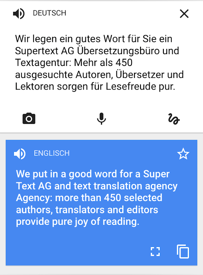 Nach dem update google translate ist immer noch betrunken das supertext magazin for Deutsch englisch translator