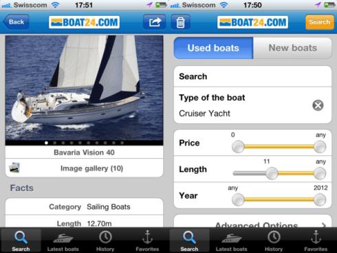 iPhone App von Boat24