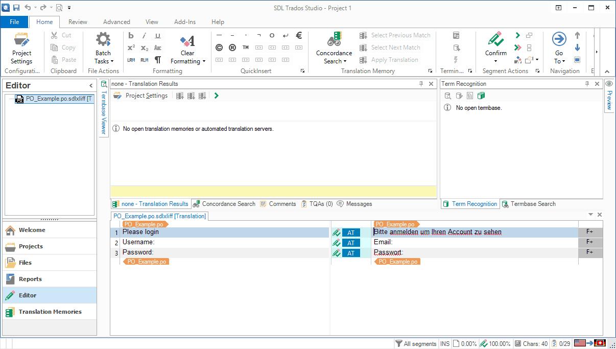 Trados PO file - PO target added as target