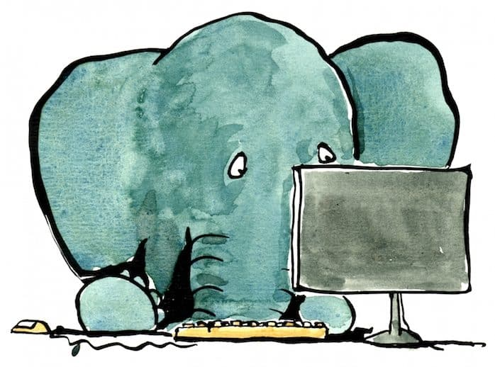 Jumbo-supertext-elefant-vor-computer
