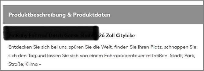 Produktbeschreibung Citybike